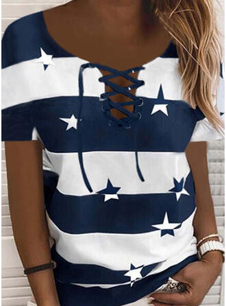 Print Color Block V-Neck Short Sleeves Casual Blouses