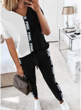 Letter Print Color Block Casual Plus Size Tee & Two-Piece Outfits Set
