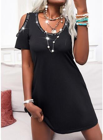 Solid Short Sleeves Cold Shoulder Sleeve A-line Knee Length Little Black/Casual Skater Dresses