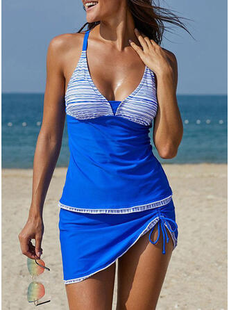 Spleiß Farbe V-Ausschnitt Trägerlos Übergröße Lässige Kleidung Tankinis Bademode