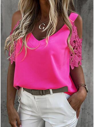 Solid Lace Cold Shoulder 1/2 Sleeves Cold Shoulder Sleeve Elegant Blouses