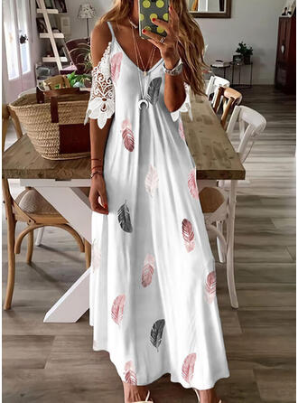 Print Lace 1/2 Sleeves Cold Shoulder Sleeve Shift Casual/Vacation Maxi Dresses