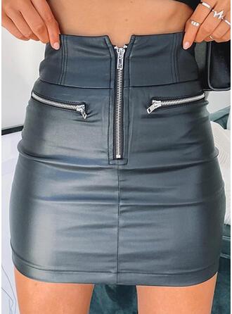 Polyester Farbblock Über dem Knie Bodycon Röcke