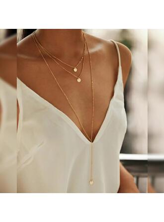 Einfache Anhänger Legierung Kupfer Schmuck Sets Halsketten (3-er Set)
