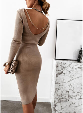 Einfarbig Lange Ärmel Figurbetont Knielang Kleine Schwarze/Sexy Pullover Kleider