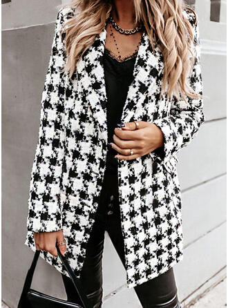 Knit Long Sleeves Houndstooth Blazers