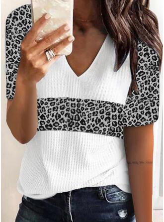 Leopard V-Ausschnitt Kurze Ärmel T-Shirts