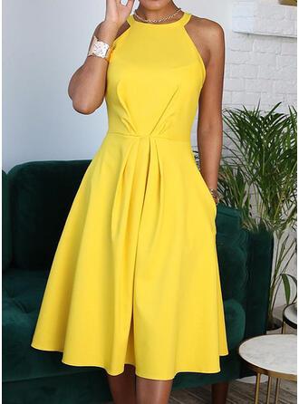 Einfarbig Ärmellos A-Linien Freizeit/Elegant Midi Kleider