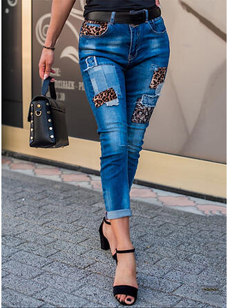 Solid Denim Cropped Casual Sexy Plus Size Pocket Denim & Jeans