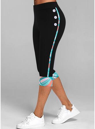 Print Capris Casual Plus Size Button Pants Leggings