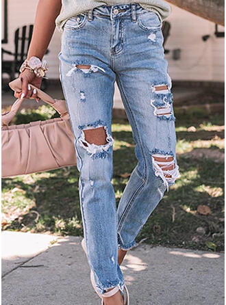 Solid Denim Long Casual Plus Size Pocket Ripped Denim & Jeans