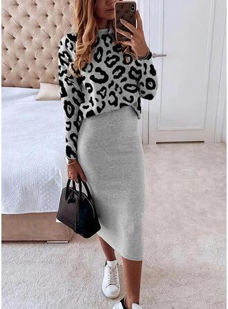 Leopard Lange Ärmel Figurbetont Freizeit Midi Kleider