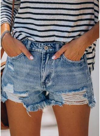 Zerrissen Quaste Lässige Kleidung Sexy Kurze Hose Denim Jeans