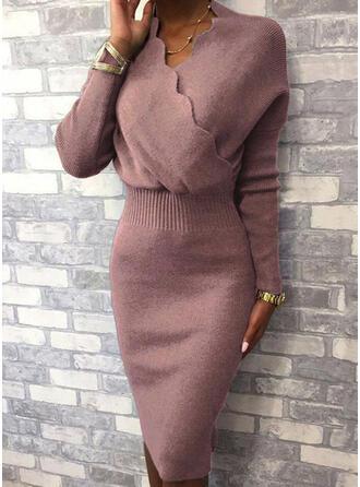 Einfarbig Lange Ärmel Figurbetont Knielang Kleine Schwarze/Elegant Pullover/Bleistift Kleider