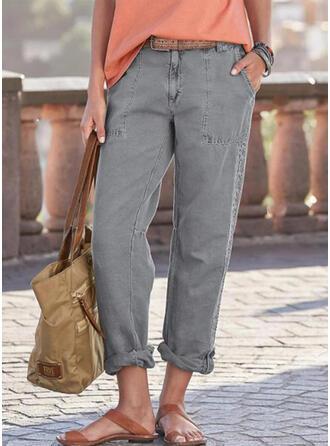 Einfarbig Lange Lässige Kleidung Lange Spitze Hosen