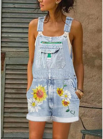 Blumen Druck Träger Ärmellos Lässige Kleidung Baumwollstoff Strampler