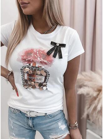 Figur Blumen Pailletten Rundhalsausschnitt Kurze Ärmel T-Shirts
