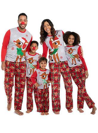 Hirsch Karierte Drucken Passende Familie Christmas Pajamas
