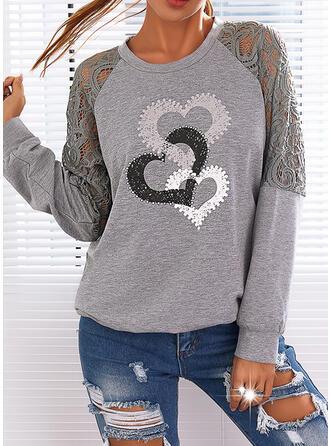 Print Heart Lace Round Neck Long Sleeves Sweatshirt