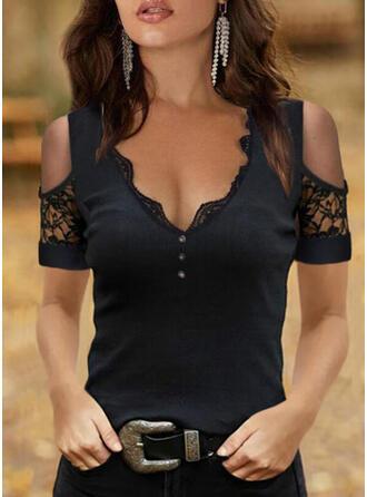 Solid Lace Cold Shoulder Short Sleeves Button Up Elegant Knit Blouses
