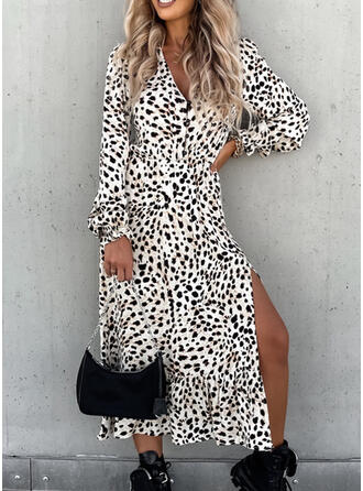 Leopard Long Sleeves Puff Sleeve A-line Skater Casual Midi Dresses