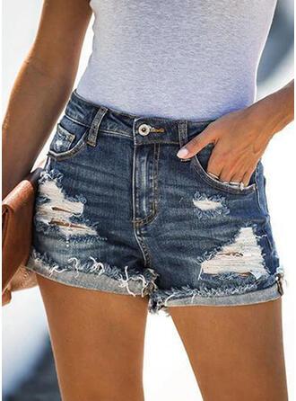 Einfarbig Elegant Sexy Kurze Hose Denim Jeans