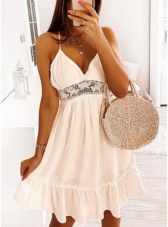Solid Lace Sleeveless A-line Knee Length Sexy/Vacation Slip/Skater Dresses