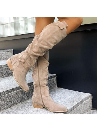 Women's Suede Chunky Heel Winter Boots With Zipper Button Solid Color shoes
