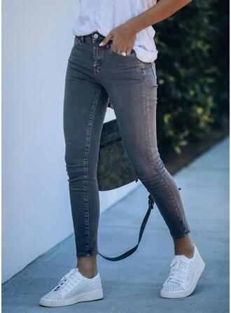 Einfarbig Übergröße Sexy Jahrgang Denim Jeans