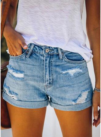Shirred Zerrissen Lässige Kleidung Einfach Kurze Hose Denim Jeans