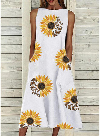 Sunflower Print Sleeveless A-line Skater Casual Midi Dresses
