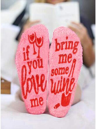 Blumen/Buchstaben Warmen/Damen/Crew Socks/Non Slip/Valentinstag Socken