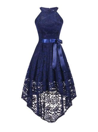 Spitze/Einfarbig Ärmellos A-Linien Asymmetrisch Vintage/Party/Elegant Kleider