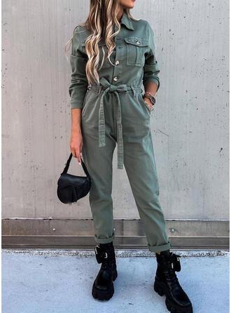 Einfarbig Hemdkragen Lange Ärmel Lässige Kleidung Overall