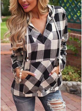 Plaid Hoodie Long Sleeves Casual Blouses