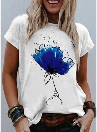 Blumen Druck Rundhalsausschnitt Kurze Ärmel T-Shirts