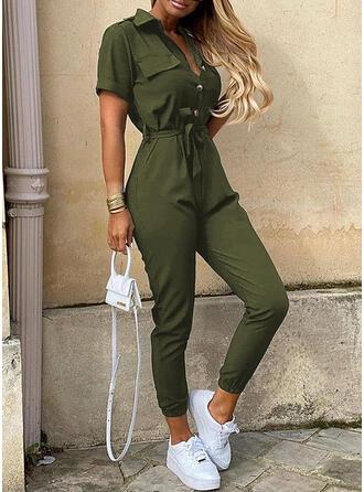 Einfarbig Hemdkragen Kurze Ärmel Lässige Kleidung Elegant Overall