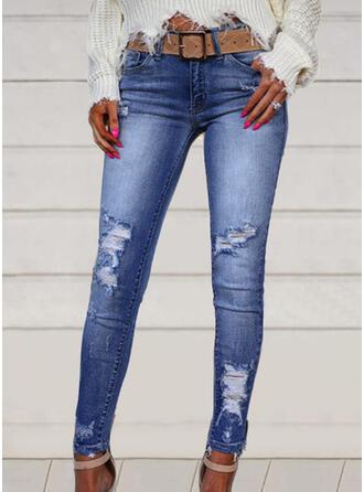 Übergröße Zerrissen Elegant Sexy Denim Jeans