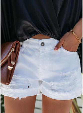 Einfarbig Übergröße Zerrissen Lässige Kleidung Sexy Kurze Hose Denim Jeans