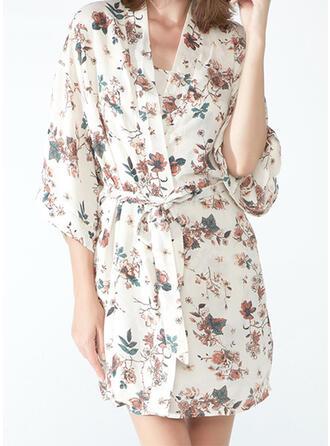 Polyester Drucken Blumen V-Ausschnitt 1/2 Ärmel Slip Kleid