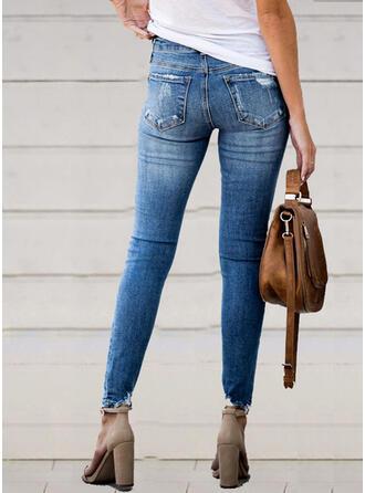 Shirred Zerrissen Lange Elegant Sexy Denim Jeans