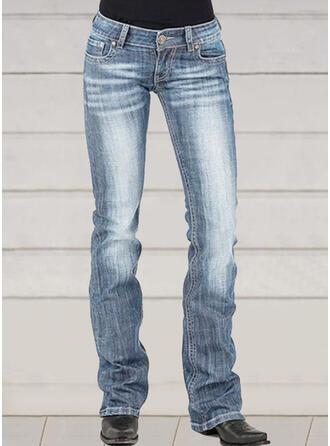 Casual Vintage Plus Size Pocket Shirred Button Pants Denim & Jeans