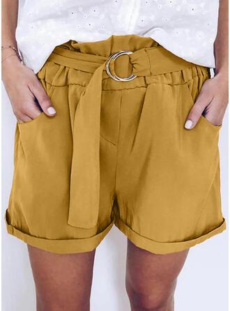 Taschen Shirred Übergröße Über dem Knie Lässige Kleidung Kurze Hose