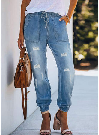Zerrissen Kordelzug Lässige Kleidung Einfach Denim Jeans