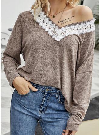 Print Lace V-Neck Long Sleeves T-shirts