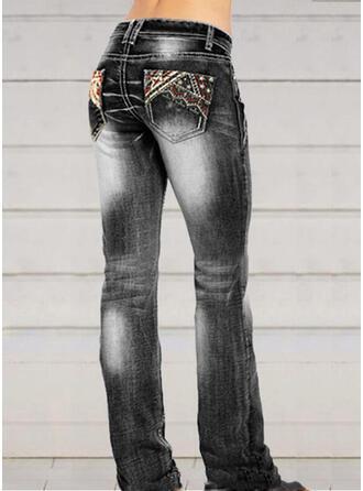 Bestickt Shirred Übergröße Elegant Sexy Denim Jeans
