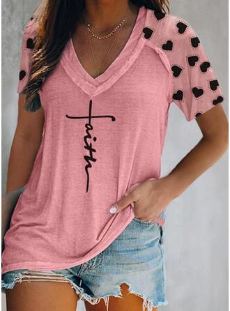 Figur Herz Druck V-Ausschnitt Kurze Ärmel T-Shirts