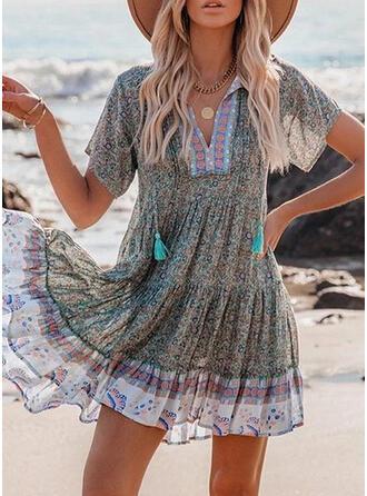 Druck/Blumen/Quaste Kurze Ärmel Shift Über dem Knie Urlaub Tunika Kleider