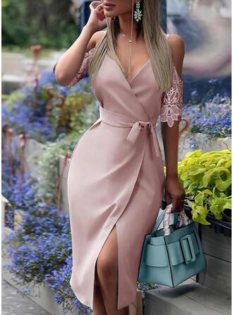 Spitze/Einfarbig 1/2 Ärmel Etui Bolero Elegant Midi Kleider
