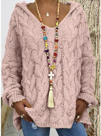 Einfarbig Zopfmuster Grobstrick Mit Kapuze Freizeit Pullover
